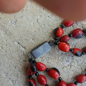 925 silver clap with peru bead necklace